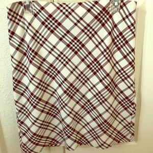 Express Ivory Skirt with Black/Burgundy Print